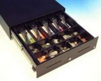 Cash Bases Kassenlade CashPlus Slimline (SL-1) - schwarz, 10 Münz- und 5 Notenfächer kein Scheckschlitz, B460mmxT450mmxH107mm