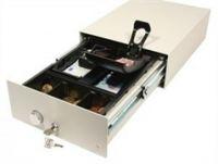 Cash Bases Kassenlade CostPlus Layflat Slimline 3000 - manuelle Öffnung, weiß, 6 Münz- und 5 Notenfächer kein Scheckschlitz, B250mmxT350mmxH108mm