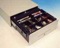 Cash Bases Kassenlade CashPlus Standard - weiß, 8 Münz- und 4 Notenfächer + 1 Ablagefach 1 Scheckschlitz, B415mmxT422mmxH138mm Epson-Anschluss, 24Volt