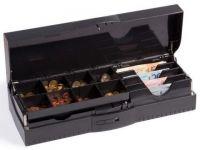 Cash Bases Kassenlade CostPlus Flip Lid Modular 460 - lackiert, schwarz, 8 Münz- und 4 Notenfächer + 1 Ablagefach Lid/body Scheckschlitz, B460mmxT180mmxH100mm