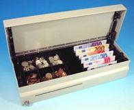 Cash Bases Kassenlade CashPlus Flip Lid Modular 490 - lackiert, weiß, 8 Münz- und 4 Notenfächer + 1 Ablagefach 1 Scheckschlitz, B490mmxT172mmxH109mm